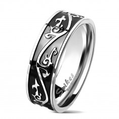 Surgical steel ring in silver colour, black strip decorated with ornament, 7 mm