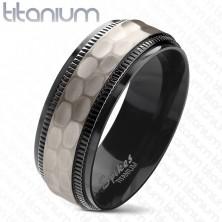 Titanium ring, black notched borders, cut matt middle strip, 8 mm