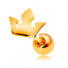 Ear piercing made of yellow 14K gold - small three-point crown