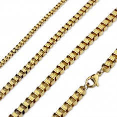 Surgical steel chain in gold colour, shiny angular links