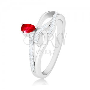 925 silver ring, red teardrop zircon, wavy zircon lines