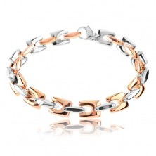 Steel bracelet, shiny angular links in copper and silver colour