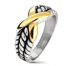 Steel ring in silver colour, notches on shoulders, X in gold colour