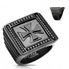 Massive ring in black colour, 316L steel, zircons, Maltese cross