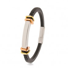Bracelet made of black rubber, smooth steel tag, squares in gold and copper colour