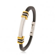 Rubber bracelet in black colour, steel tag, squares in gold and silver colour