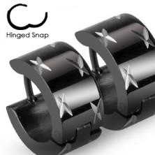 Black steel earrings with silver stars