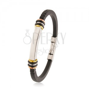 Rubber bracelet black, steel prism, tricoloured circles, rubber circles