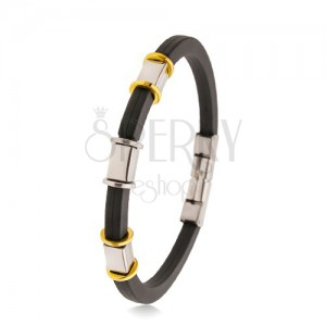Black rubber bracelet with notches, steel decorations in silver and gold colour