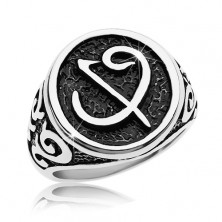 Ring made of surgical steel -black seal with symbol, ornaments on shoulders