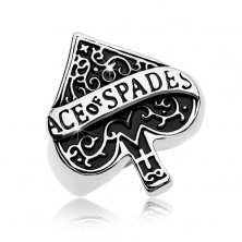 Massive ring made of 316L steel, patinated ace of spades symbol, inscription