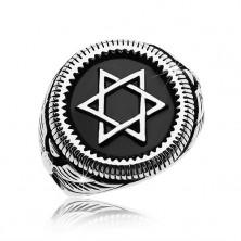Massive ring in silver colour, 316L steel, Star of David in black circle