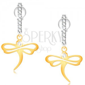 585 gold earrings - shiny dragonfly on zircon arc