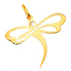 Pendant made of yellow 14K gold - dragonfly with embedded zircon and cutouts on wings