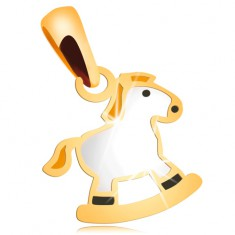 Pendant made of yellow 14K gold - white rocking horse with yellow mane