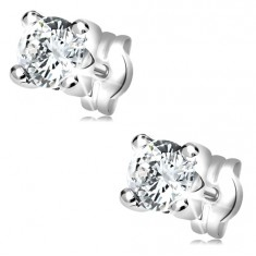 Earrings made of white 14K gold - round clear zircon in angular mount