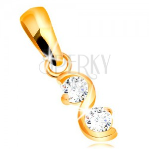 585 gold pendant - shiny smooth wave, two clear glossy zircons