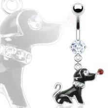 Navel ring - black dog with zircons
