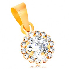 Pendant made of yellow 14K gold - glistening zircon flower in clear colour