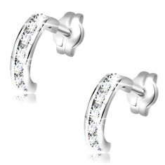 Earrings made of white 14K gold - small half-circle inlaid with clear zircons