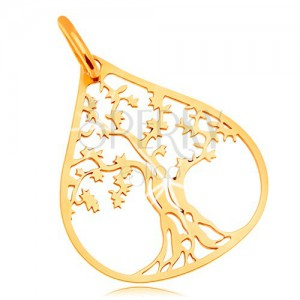 Pendant made of yellow 14K gold - patulous tree in big drop contour