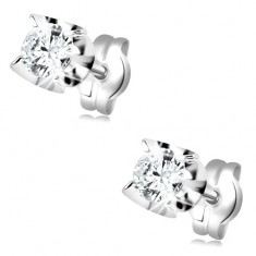Earrings made of white 585 gold - round clear zircon in mount composed of arcs