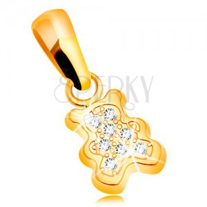 Pendant made of yellow 585 gold - small bear adorned with clear zircons