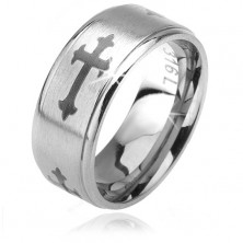 Matt ring made of 316L steel, Fleur de lis cross, shiny lowered borders, 6 mm