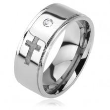 Shiny steel ring - protruding strip, clear zircon, matt cross, 6 mm