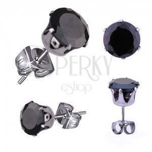 Earrings made of 316L steel, silver colour, round black zircon, 3 mm