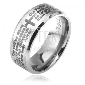 Ring made of surgical steel in silver colour, slanted borders, the Lord's prayer, 6 mm