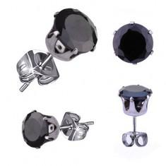 Steel earrings in silver hue, black round zircon, 5 mm