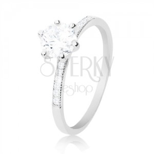 Ring made of 925 silver, round clear zircon, thin shoulders with zircons