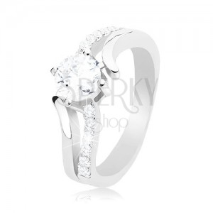 925 silver ring, divided wavy shoulders, round clear zircon