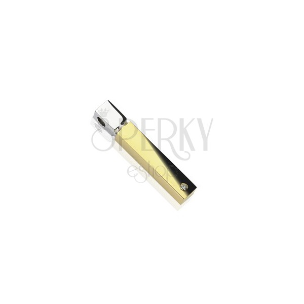 Stainless steel square cylinder pendant in gold-silver colour, zircon