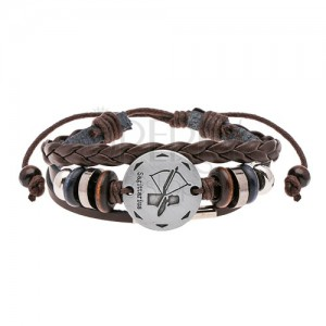 Multibracelet made of brown synthetic leather - beads, circle in silver colour, SAGITTARIUS