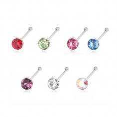 925 silver nose piercing ending in ball and round zircon, 1,8 mm