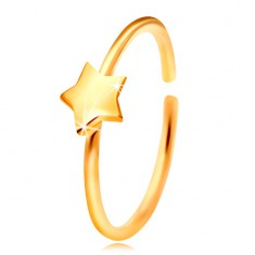 14K gold nose piercing, shiny circle with star, yellow gold