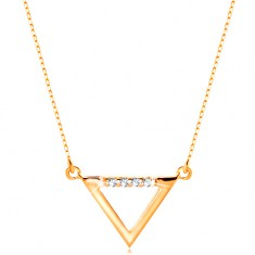 Necklace made of yellow 14K gold - triangle contour adorned with clear zircons