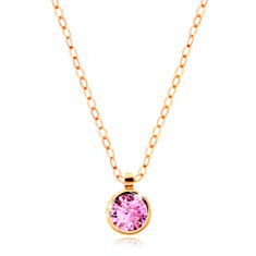 Necklace made of yellow 14K gold - sparkly chain, round pink zircon