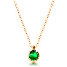 Necklace made of yellow 14K gold - shimmering chain, round zircon in emerald colour
