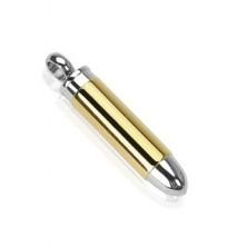 Stainless steel golden-silver bullet pendant