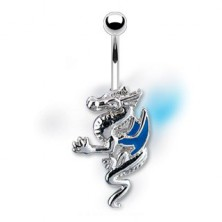 Navel ring - dragon with blue wings