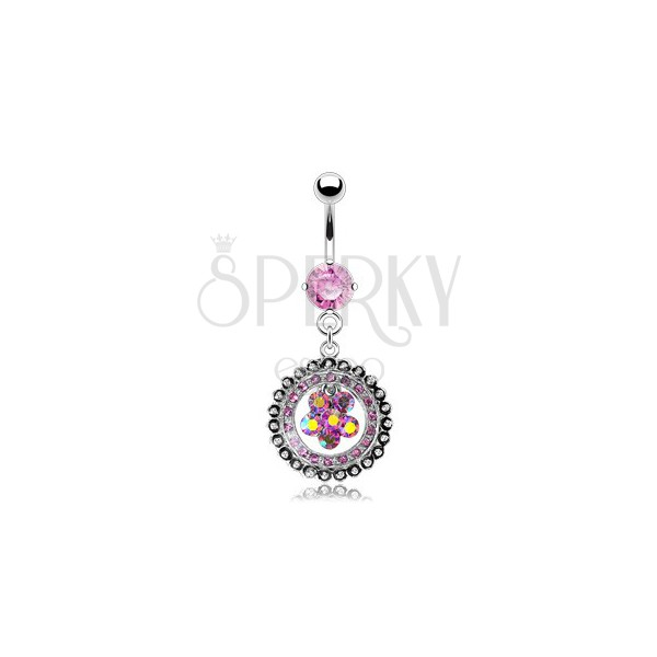 Luxurious belly ring with zirconic flower