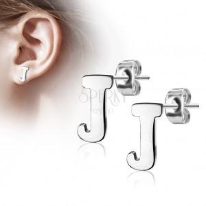 Steel earrings in silver hue - capital letter J, high gloss