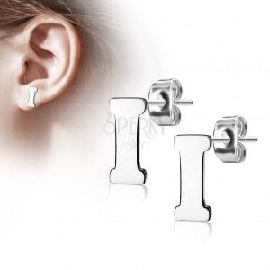 Stud earrings made of 316L steel - capital letter I, silver colour