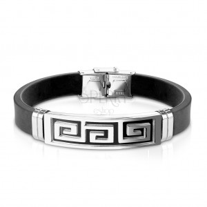 Steel-rubber bracelet, tag with Greek key in black colour
