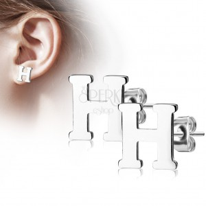 Steel earrings in silver colour - capital letter H, high gloss