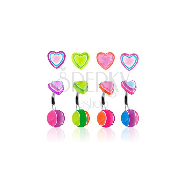 Colorful heart belly bar