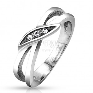 Ring made of 316L steel, silver colour, split shoulders, clear zircons